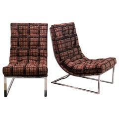 1970s Pair of Chromed Lounge Chairs, 1950s Black and Brown Jacquard Fabric