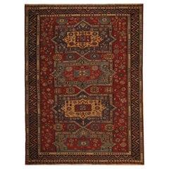Antique Caucasian Sumakh Kilim Rug, Geometric Flat-Weave Rug circa 1880s Carpet