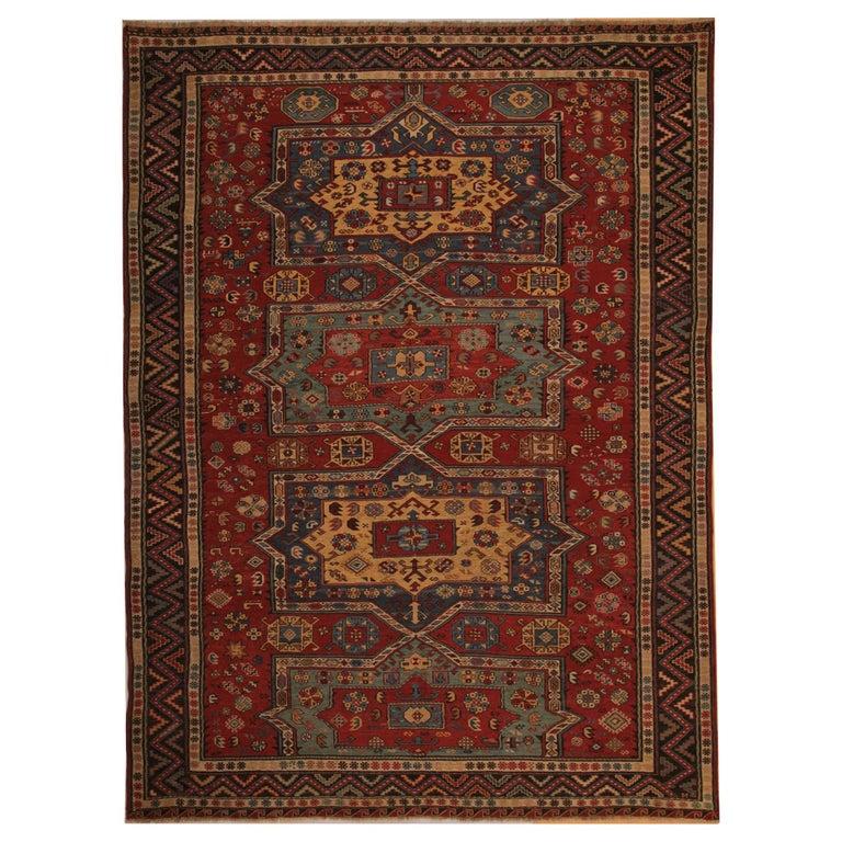 Caucasian Kilim Rug: Antique Caucasian Sumakh Kilim Rug, Geometric Flat-Weave