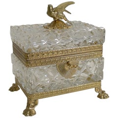 Figural French Cut Crystal and Gilded Bronze Jewelry Casket or Box, circa 1900