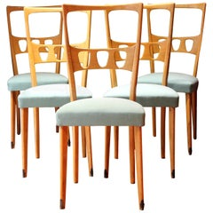 Five Italian Design Mid-Century Modern Wood and Upholster Dining Chairs