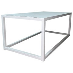 New Modern Rectangular White Table with Metal Top, Indoor or Outdoor