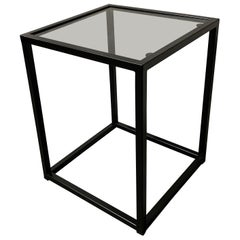 New Modern Square Black Table with Fumee Glass Top, Indoor or Outdoor