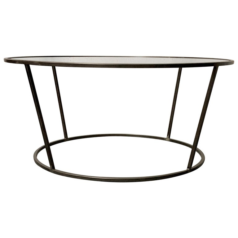 New Round Coffee Table with Metal Structure and Glass Top For Sale