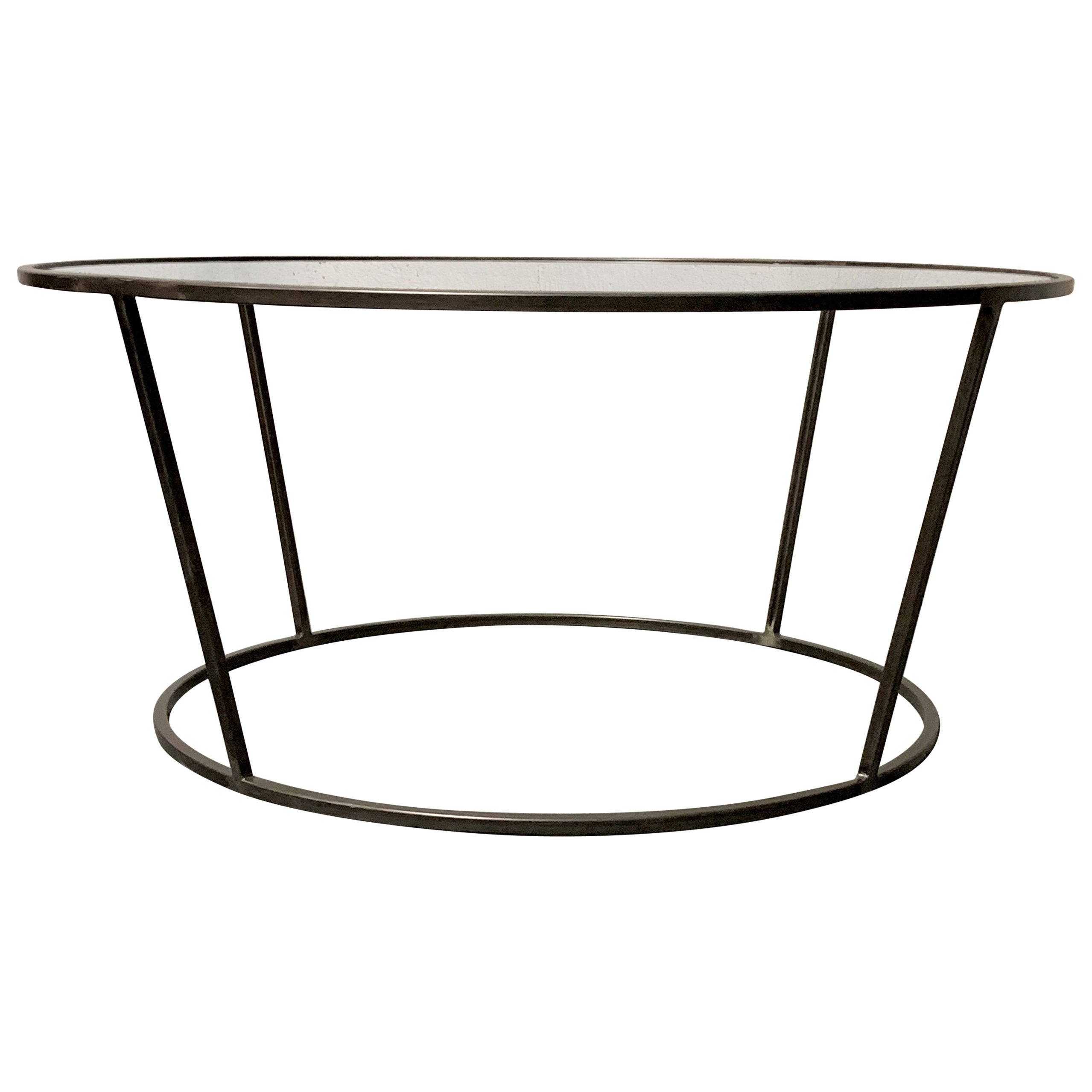 New Round Coffee Table with Metal Structure and Glass Top