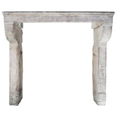 Antique Mantelpiece of French Limestone, 19th Century, Campagnarde Style
