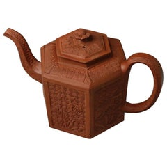 """Staffordshire Stoneware Redware """"Chinese"""" Moulded Hexagonal Teapot"""