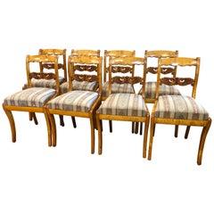 19th Century Biedermeier Sweden Birch 8 Chairs, 1840s