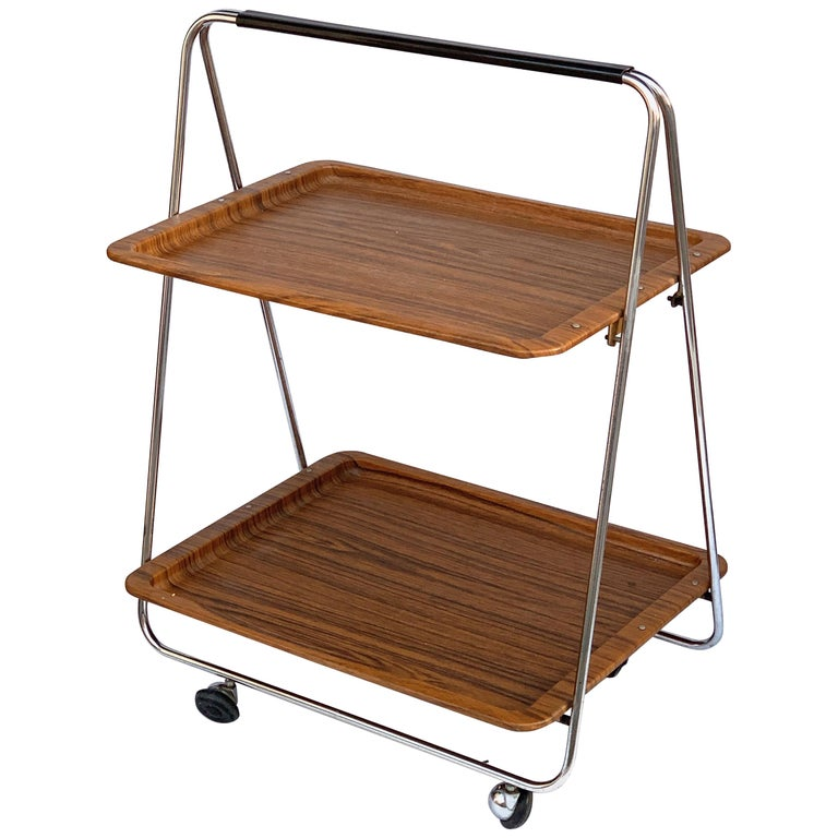 Bar Cart Folding Plastic Faux Wood and Chrome Metal by Robex, Italy, 1970s For Sale