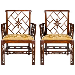 Pair of 18th Century Chinese Chippendale Cockpen Armchairs