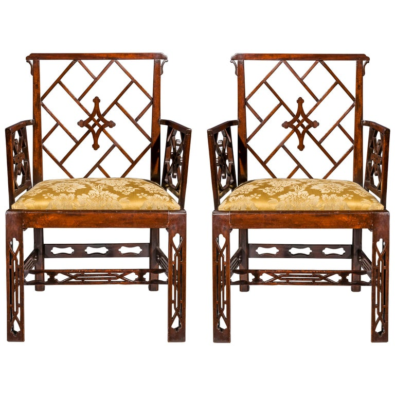 Pair of 18th Century Chinese Chippendale Cockpen Armchairs For Sale