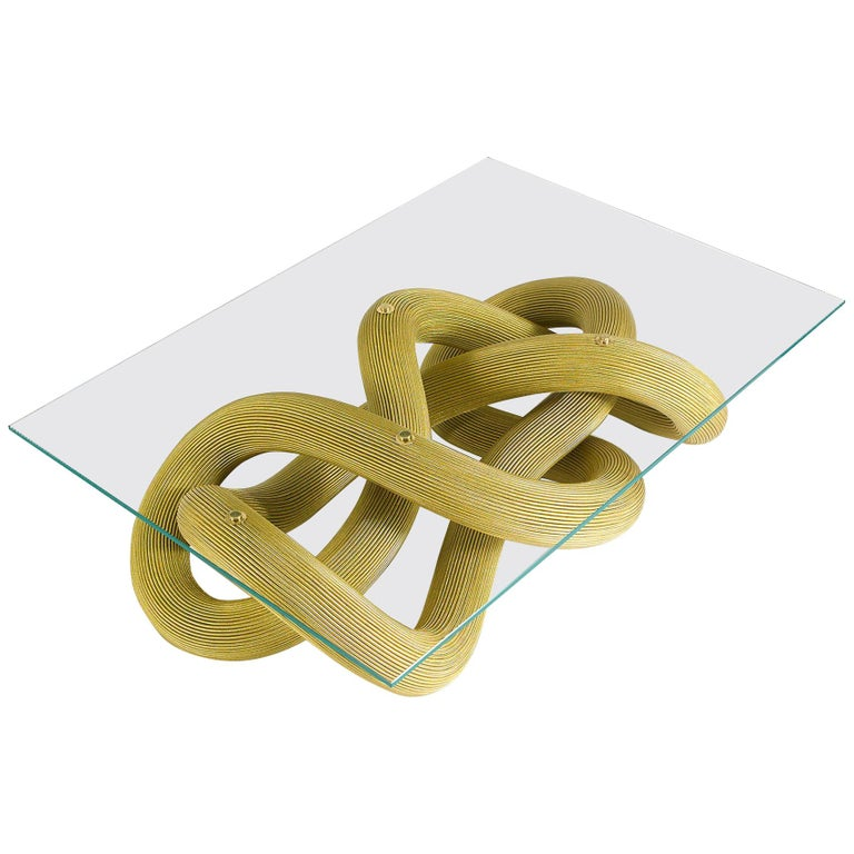 Low Coffee Table in Brass Wire, Flux by Jake Phipps For Sale