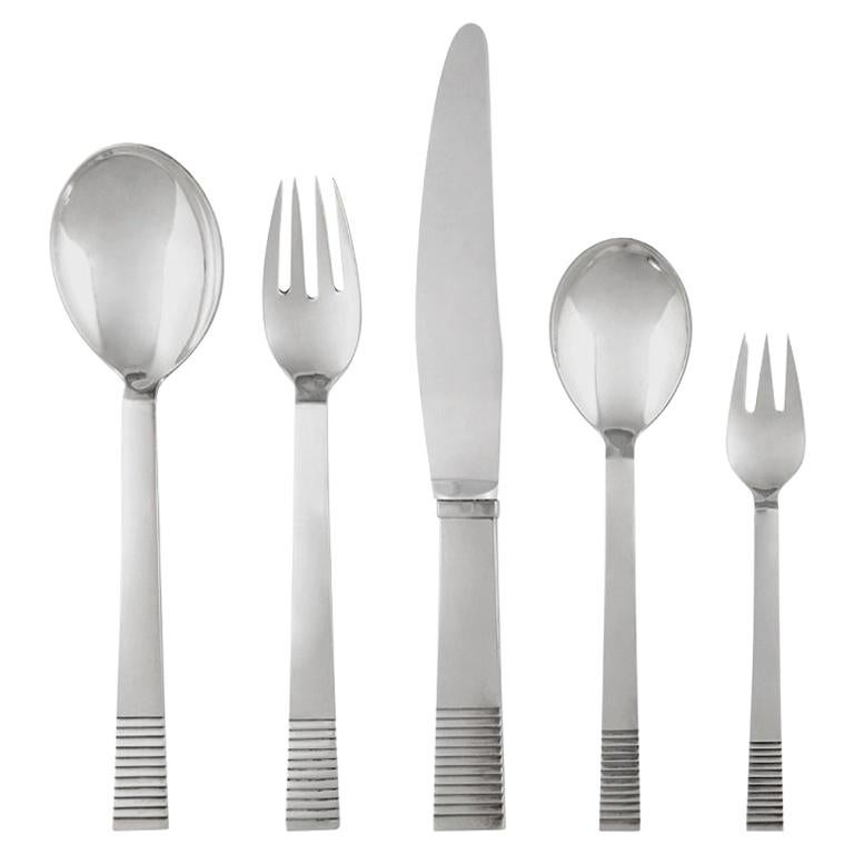 Georg Jensen Art Deco Parallel Silverware Service for Eight For Sale