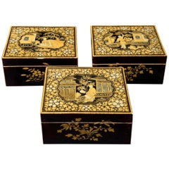 Antique 19th Century Set of Three Chinoiserie Lacquer Jewelry Boxes