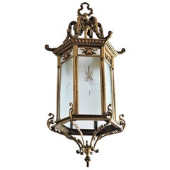 Große 19. Jahrhundert Regency Stil Bronze und Geschliffenes Glas Laterne