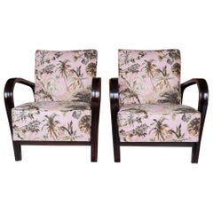 Pair of 1940s Czech Art Deco Halabala Armchairs