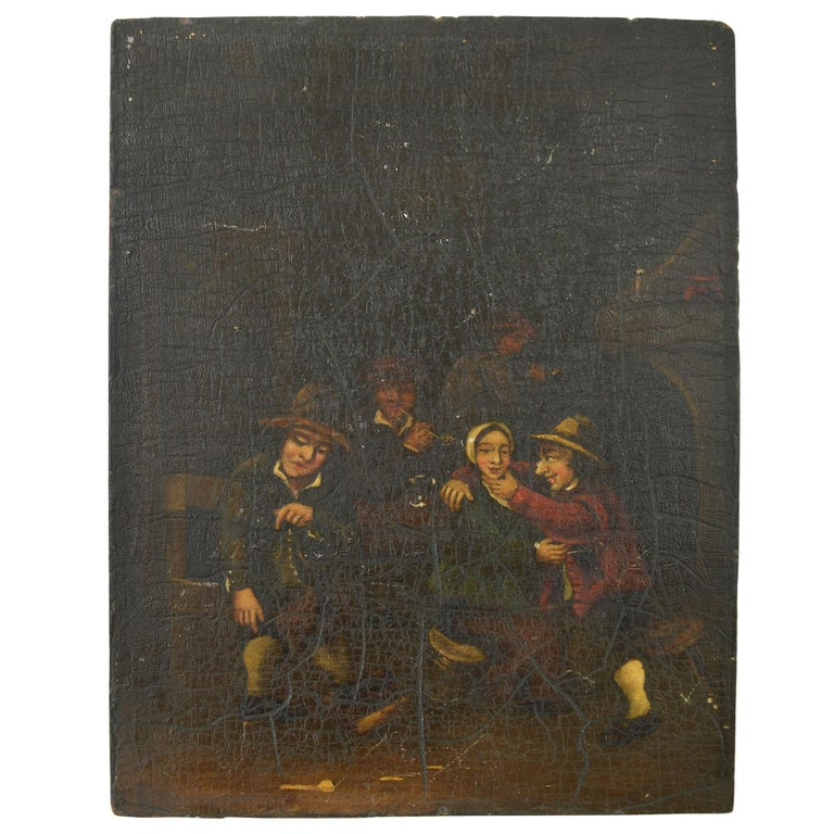 Interior with Bucolic Figures, Oil on Panel, Dutch, 19th Century For Sale