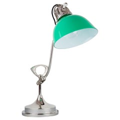 Swiveling Art Deco Nickel Table Lamp 1920s with Original Glass