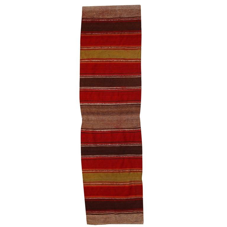 Handmade Vintage Ardabil Kilim Style Runner, 1950s, 1C355 For Sale