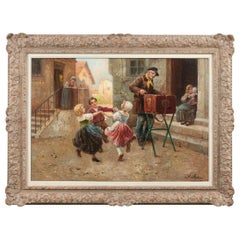 August Stephan 'Dancing Children'oil on Canvas, Austria, 1868 to 1936