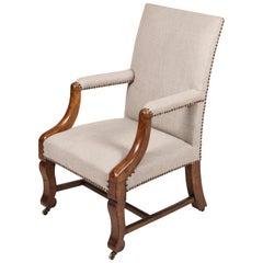 Mahogany Cabin or Library Royal Navy Issue Desk Chair, circa 1830