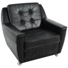 1960 Black Vintage Leather Armchair