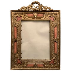 Wonderful French Gilt Bronze Salmon Pink Enamel Bow Top Picture Frame