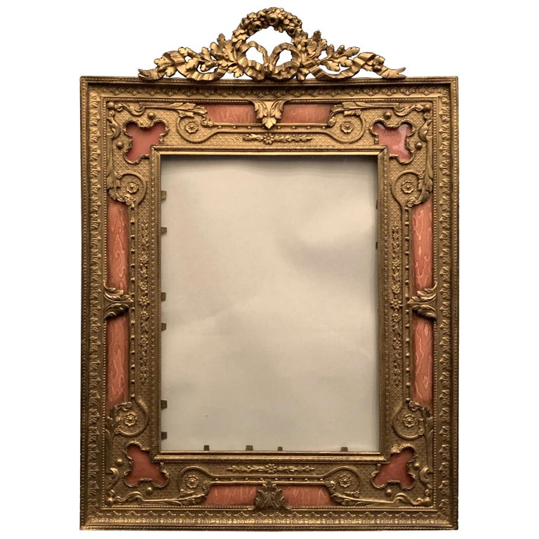 Wonderful French Gilt Bronze Salmon Pink Enamel Bow Top Picture Frame For Sale