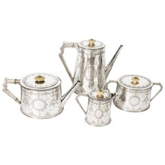 Antique Sterling Silver 4-Piece Tea Coffee Service Martin Hall, 1872