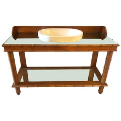 Mid-Century Modern French Faux Bamboo Cupboard Sink with Mirror Top, 1920s