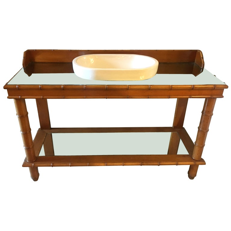 Mid-Century Modern French Faux Bamboo Cupboard Sink with Mirror Top, 1920s For Sale