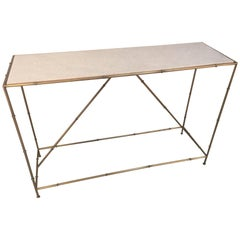 Contemporary Golden Metal and White Marble Console Table