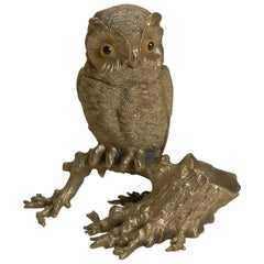 Antique English Gilded Bronze Novelty Inkwell, Owl with Glass Eyes, circa 1890