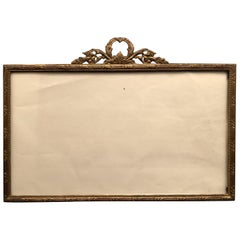 Wonderful Large French Gilt Bronze Bow and Filigree Top Picture Frame
