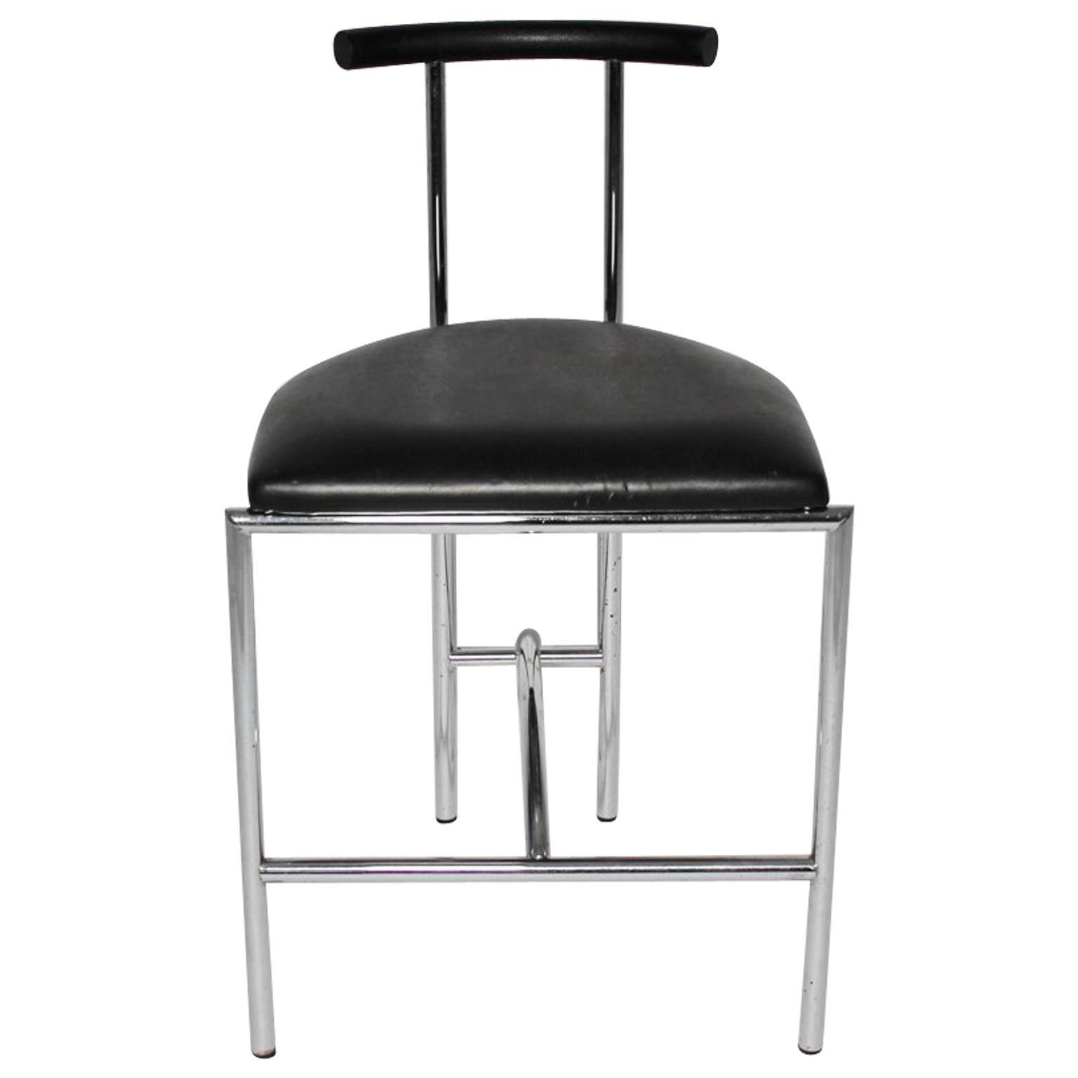 Black Modern Vintage Side Chair Tokyo by Rodney Kinsman 1985 Metal Faux Leather