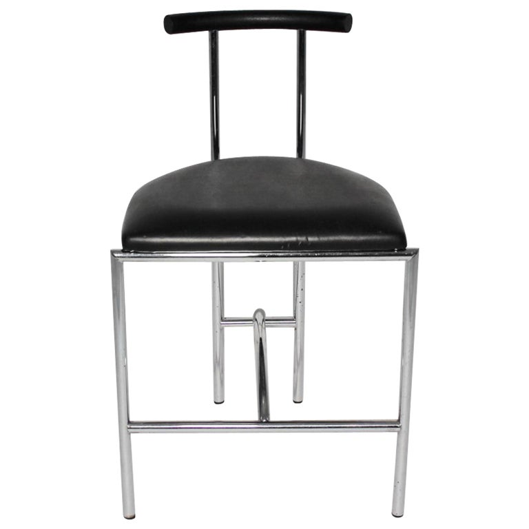 Black Modern Vintage Side Chair Tokyo by Rodney Kinsman 1985 Metal Faux Leather For Sale