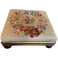 Authentic Late 19th Century Tabouret Foot Stool Flower Tapestry Round Legs