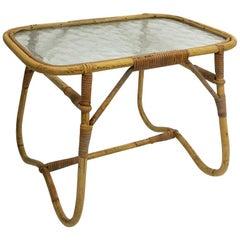 Small Rattan Side Coffee Table, Dirk Van Sliedrecht for Rohe Noordwolde, 1950s