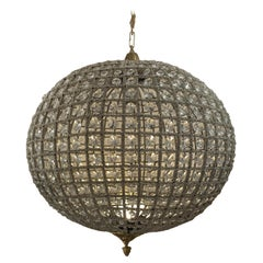 Ritzy Beaded and Crystal Large Spherical Chandelier Pendant