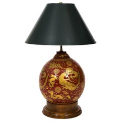 Red Lacquered Chinese Lamp