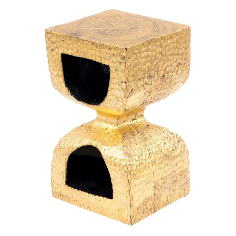 End Table in Gilt Oak, French Contemporary Work