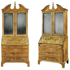 Pair of 18th Century Green Japanned Bureau Bookcases Attributed to Giles Grendey