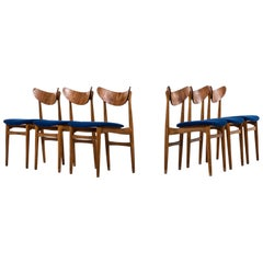 Set of Six Dining Chairs in Oak, Teak and Blue Fabric Produced in Denmark