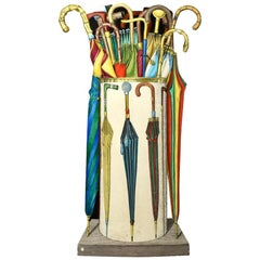 Piero Fornasetti Umbrella Stand Fornasetti Italy 1950s Print over Enameled Steel