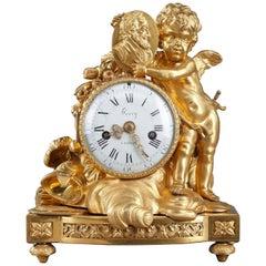 Louis XVI Table Clock Honoring Henri IV by Henri Voisin