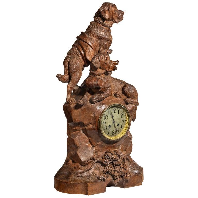 'Black Forest' Walnut Clock For Sale