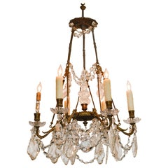 19th Century, French Bronze and Crystal Chandelier