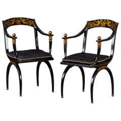 Pair of Vintage French Empire Chapuis Ebonized Gilt Chairs, circa 1950