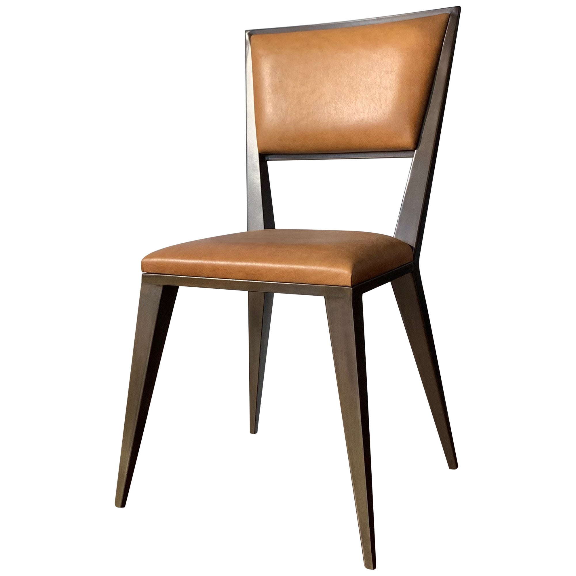Modern Metal and Leather Dining Chair, Rodelio, from Costantini