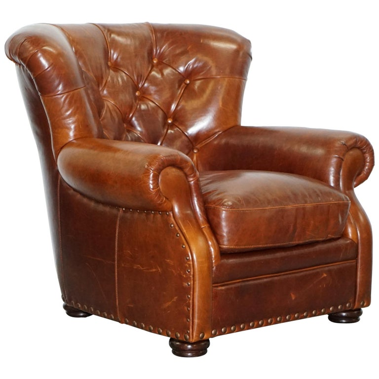 Ralph Lauren Writer's Style Aged Vintage Deep Brown Heritage Leather Armchair For Sale